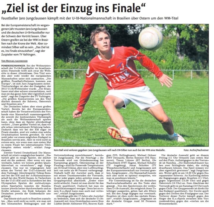 Vaihinger Kreiszeitung am 16.04.14